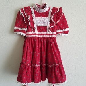 Other - Vintage Red White Blue Floral Dress